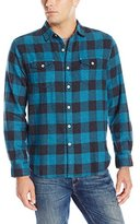 True Grit Men's Vintage Melange Buffalo-Check Long-Sleeve Two-Pocket Shirt