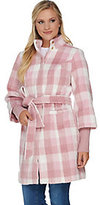 As Is Isaac Mizrahi Live! Plaid Funnel Neck Coat with Storm Cuffs