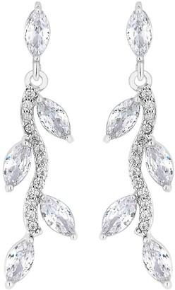 Jon Richard Bridal Pave Wave Leaf Drop Earrings