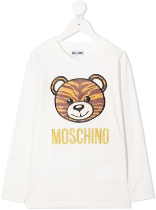 MOSCHINO BAMBINO embroidered logo longsleeved T-shirt