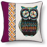 "Mudhut Sparrow Pieced Embroidered Owl Decorative Pillow (18""x18"") Multicolored"