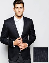 Asos Slim Suit Jacket In Textured Twill