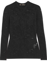 Versace Open-knit Top - Black