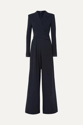 Talbot Runhof Bisini Satin-trimmed Draped Crepe Jumpsuit - Midnight blue