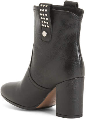 Made In Italy Block Heel Leather Boots