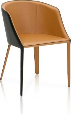 Brayden Studio Malik Dual Tone Curved Saddle Upholstered Dining Chair