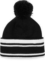 Topman Black And White Stripe Bobble Beanie Hat