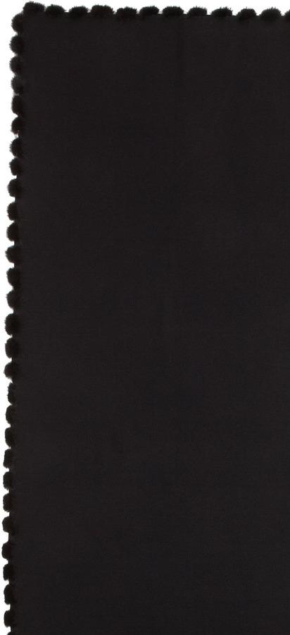 Neiman Marcus Mink Pom-Pom Trim Wrap, Black