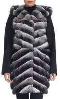 Yves Salomon Hooded Chinchilla Parka with Knit Trim
