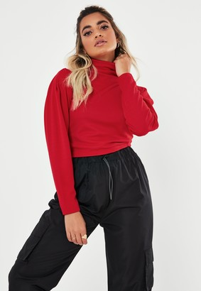 Missguided Recycled Petite Red Roll Neck Pullover