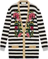 Gucci Embroidered cashmere wool oversize cardigan