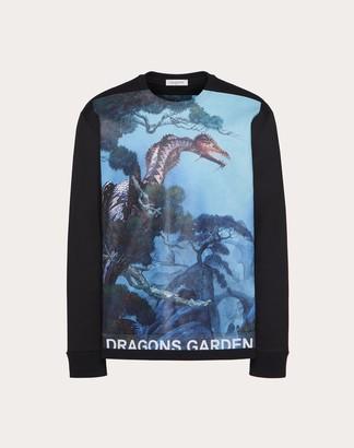 Valentino Roger Dean Print Sweatshirt Man Black/blue 94% Cotone, 6% Poliammide L