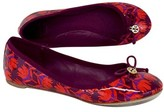 Tory Burch Red & Purple Floral Leather Ballerina Flats