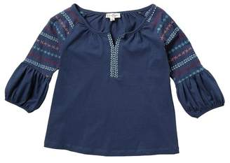 Jessica Simpson Bubble Sleeve Embroidered Top (Big Girls)
