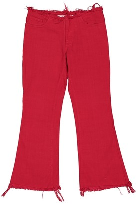 Marques Almeida Red Cotton Trousers