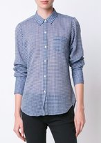 Nili Lotan Check Cotton Voile Nl Shirt Blue White