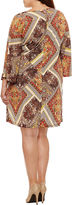Tiana B Long Sleeve Patchwork Sheath Dress-Plus