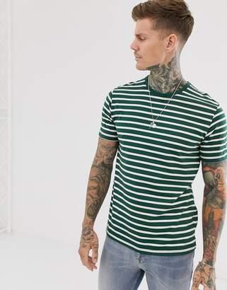 Topman striped t-shirt in green & ecru