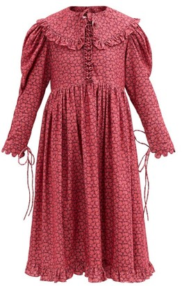 Horror Vacui Lisi Floral-print Cotton-corduroy Dress - Red