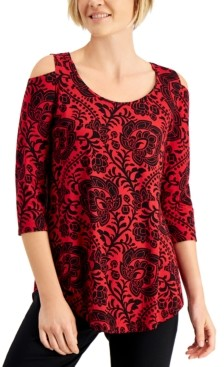 JM Collection Printed 3/4-Sleeves Cold-Shoulder Top, Created for Macy's