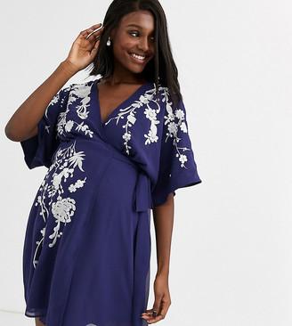 Asos DESIGN Maternity mini dress with wrap bodice and pretty embroidery-Purple