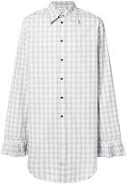 Chin Mens check pleated cuff shirt
