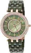 Anne Klein Women's AK/2620OLRG Swarovski Crystal Accented Rose Gold-Tone and Olive Green Resin Bracelet Watch