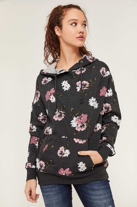 Ardene Floral Fleece Hoodie