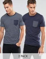 Brave Soul 2 Pack Pocket T-Shirt in Stripe