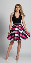 Dave and Johnny Halter Two Piece Stripe Print Homecoming Dress