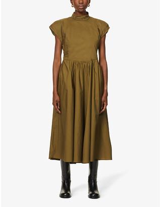 Gestuz Cassia capped-sleeve organic cotton midi dress