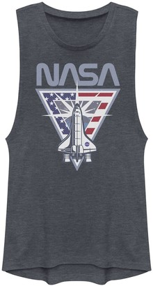 Licensed Character Juniors' NASA Shuttle American Flag Triangle Muscle Tank Top