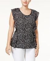 MICHAEL Michael Kors Size Finley Printed Ruffle-Trim Top