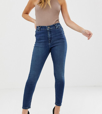 ASOS DESIGN Petite Ridley high waisted skinny jeans in mottled blue was with belt loop detail