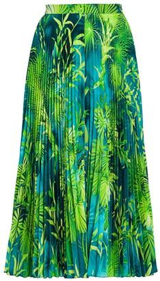 Versace Jungle-Print Pleated Midi Skirt