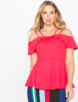 ELOQUII Plus Size Off the Shoulder Ruffle Peplum Knit Top
