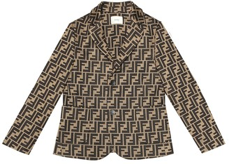 Fendi Kids Logo cotton blend blazer
