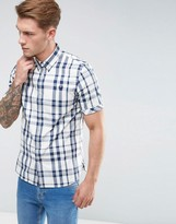 Fred Perry Slim Fit Short Sleeve Check Shirt Blue