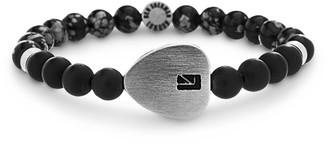 Ben Sherman Men's Grey Stone Bead with Stainless Steel Heart Charm Stretch Bracelet