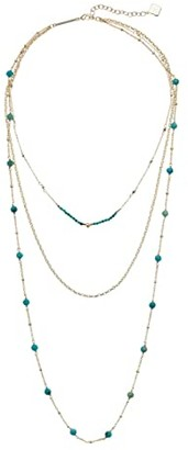 Kendra Scott Scarlet Triple Strand Necklace (Gold Turquoise) Necklace