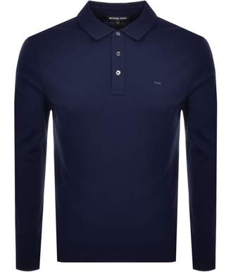 Michael Kors Sleek Long Sleeve Polo T Shirt Navy