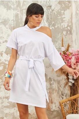 Jenerique White Summer Wrap Mini Dress with open Shoulder