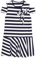 Mayoral Cold-Shoulder Stripe Dress, Size 8-16