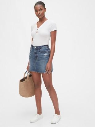 Gap High Rise Distressed Denim Skirt
