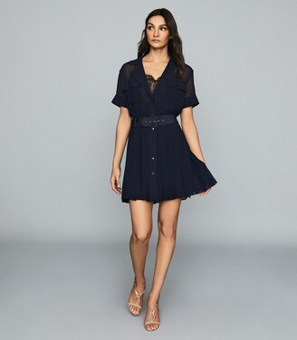Reiss Fiona - Lace Trim Utility Dress in Navy