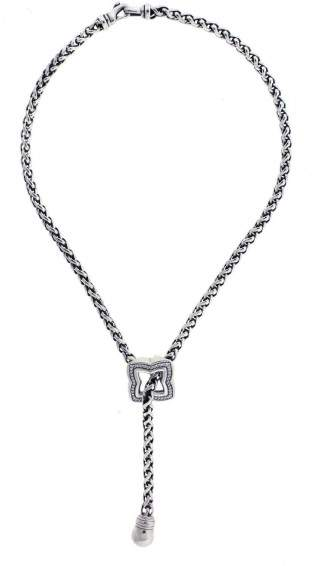 David Yurman 925 Sterling Silver 0.50ct Diamond Quatrefoil Lariate Necklace