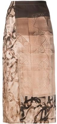 Charlotte Knowles Silk Snake Print Midi Skirt