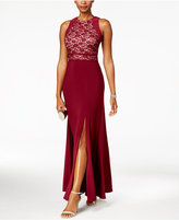 Night Way Nightway Petite Glitter Lace Slit Gown