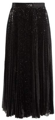 MSGM Pleated Sequin Midi Skirt - Womens - Black