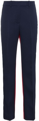 Calvin Klein Contrast Panel Straight Wool Trousers